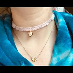 Pink Lace Choker with Gold Heart Charm